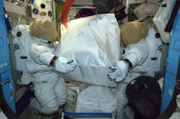 Spacesuit storage in the Quest Airlock. Credits: ESA/NASA