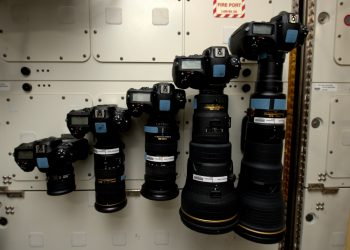Camera lenses on Station. Credits: ESA/NASA