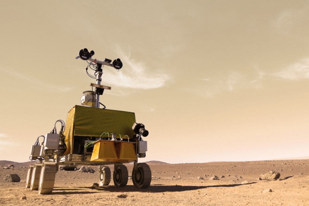 Color-modified image of Bridget rover testing at the Atacama desert. Credits: Aribus Defence and Space-E. Allouis