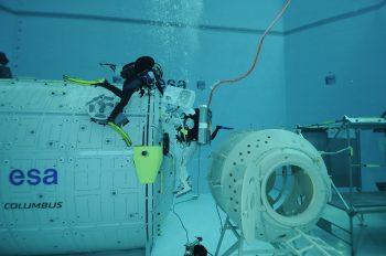 Tim Peake underwater spacewalk training at European Astronaut Centre. Credits: ESA