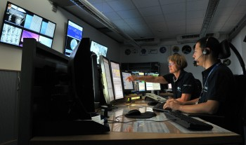Beate Fischer and Timothy Irawan on console. Credits: ESA