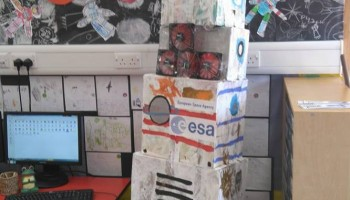 Hello! My name is Mrs Gomer and I am representing a little school in Scotland called Tweedbank primary school. The primary one children have been following Tim Peake since he first blasted off! they have been studying space. Made a space station and a wonderful rocket dedicated to Tim and ESA. Mrs Revels Mrs Gomer and Tweedbank primary one class (age 5-6)