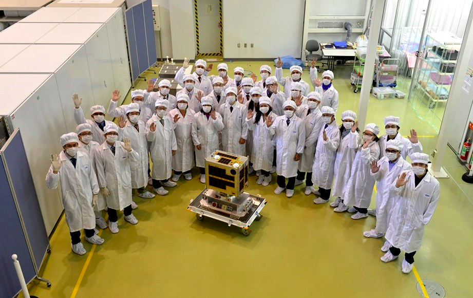 Philippine delegation at the official turnover of the Diwata-1 microsatellite to JAXA. Taken from JAXA Tsukuba Space Center (Photo credit: JAXA)