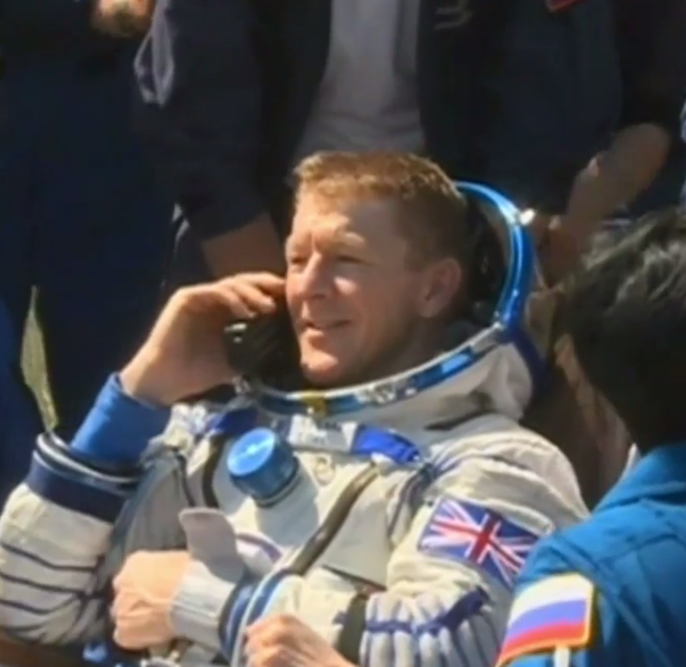 Tim Peake phones home. Credits: NASA