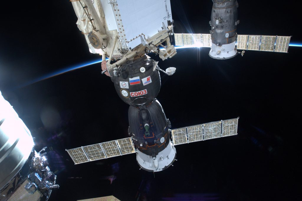 Tim Peake's first photo from space: the Soyuz TMA-19M that took him to the Space Station and will bring him home. Credits: ESA/NASA