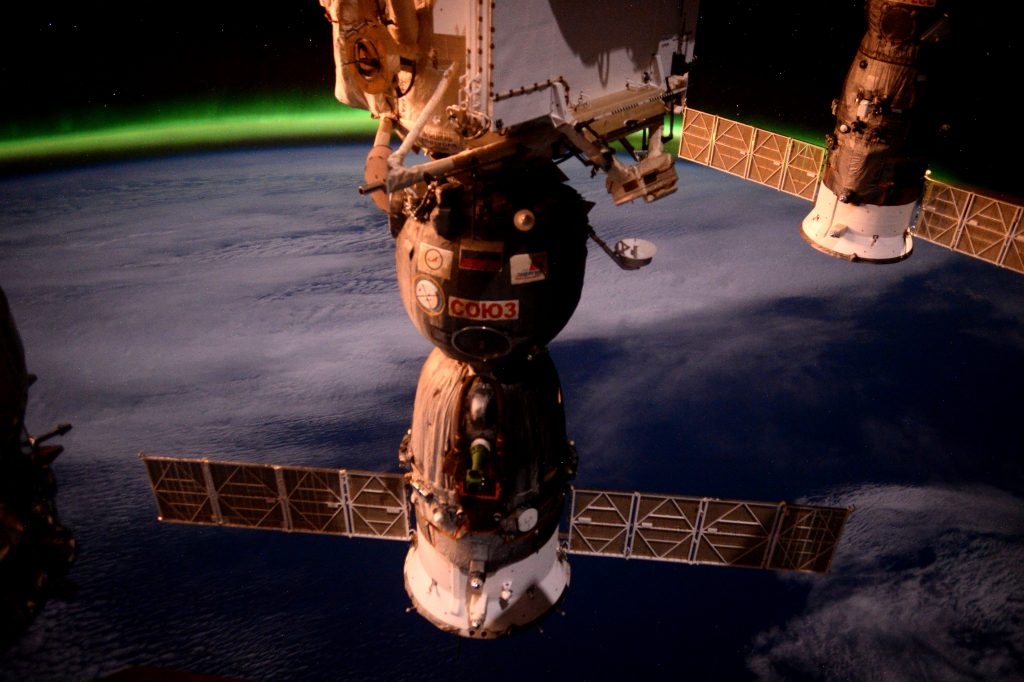 The Soyuz TMA-19M spacecraft has been waiting patiently for six months to return to Earth. Credits: ESA/NASA