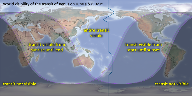 Visibility map for the 2012 transit of Venus Credit: Michael Zeiler, eclipse-maps.com