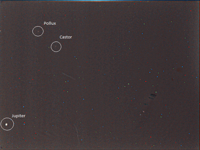 A 30-second exposure using VMC to look up - Jupiter, Castor and Pollux are all tagged. Date-time stamp: 2014 DOY 095 18:49:26 UTC Credit: ESA/Mars Express/VMC