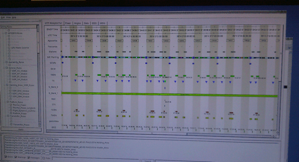 Screenshot: Mars Express mission planning system. Credit: ESA
