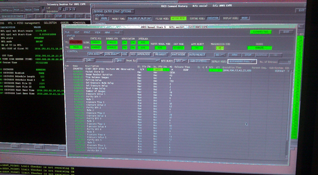 VMC Earth observation commands in the Mars Express mission control system. Credit: ESA