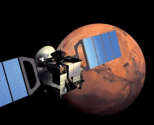 Mars Express left Earth for Mars on a six-month journey in June 2003, when the positions of the two planets made for the shortest possible route, a condition that occurs once every twenty-six months.
