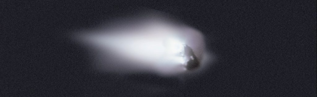 This view of Comet Halley's nucleus was obtained by the Halley Multicolour Camera (HMC) on board the Giotto spacecraft, as it passed within 600 km of the comet nucleus on 13 March 1986. Credit: ESA/MPAe Lindau