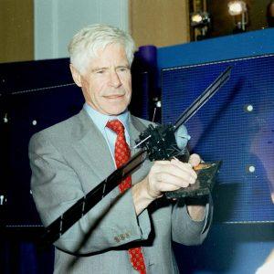 Roger Bonnet with Rosetta model Credit: ESA