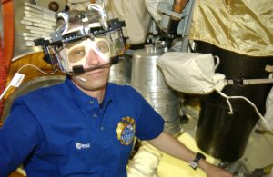 ESA astronaut Thomas Reiter wearing ESA's Eye Tracking Device during his six-month Astrolab mission to the International Space Station in 2006. Credit: ESA/NASA
